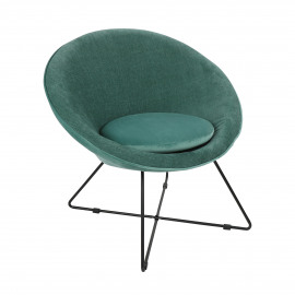 GARBO - relax chair - velvet / iron - L 75 x W 67 x H 73 cm - aqua