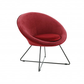 GARBO - relax chair - velvet / iron - L 75 x W 67 x H 73 cm - burgundy