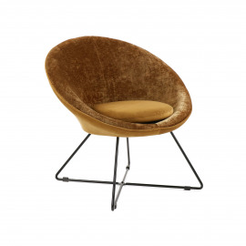 GARBO - relax chair - velvet / iron - L 75 x W 67 x H 73 cm - caramel