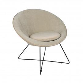 GARBO - fauteuil - velvet / fer - L 75 x W 67 x H 73 cm - Blanc Cassé