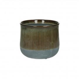 BRANSA - cachepot - faïence - DIA 15 x H 13 cm - brun