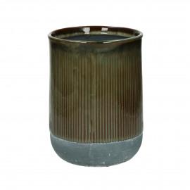 BRANSA - cachepot - faïence - DIA 15 x H 20 cm - brun
