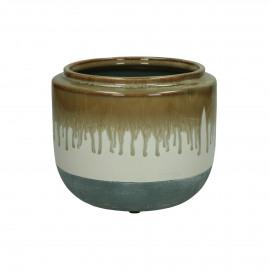ATLAN - pot de fleur - faïence - DIA 18 x H 15 cm - brun