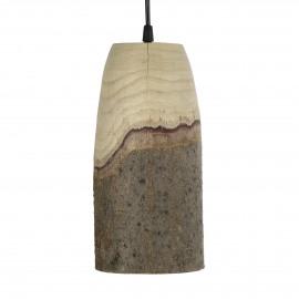 CABINE - lampe suspendue - paulownia - DIA 14 x H 29 cm - Naturel