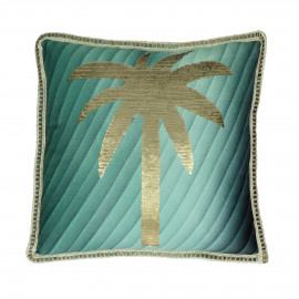 PARADIS - cushion - polyester / sequin - L 45 x W 45 cm - green