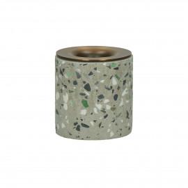 TERRAZZO - candle holder - terrazzo / metal - DIA 5 x H 5 cm - Gray