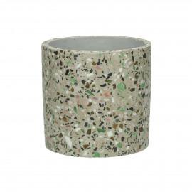 TERRAZZO - flower pot - terrazzo - DIA 11 x H 11 cm - grey