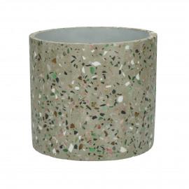 TERRAZZO - flower pot - terrazzo - DIA 14 x H 13 cm - grey