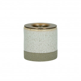 MAYTÉ - candle holder - stoneware / iron - DIA 5 x H 5 cm - off-white