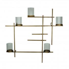 LINIA - muurdecoratie met 5 theelichthouders - ijzer / glas - L 55 x W 8 x H 55 cm - Goud
