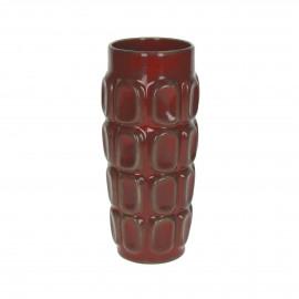PRAHA - vase - faïence - DIA 10 x H 21,5 cm - rouge