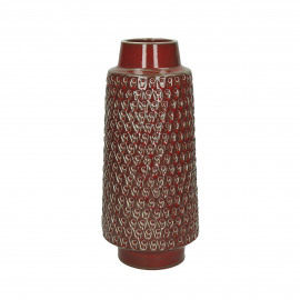PRAHA - vase - faïence - DIA 15,5 x H 36 cm - rouge