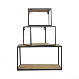 ESSENTIAL - set/3 wall racks - iron / fir - L 27/30/50 x W 27/30/30 x H 20/22/27 cm