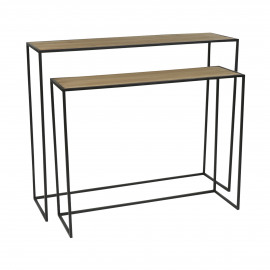 ESSENTIAL - set/2 console - iron / fir - L 94/97 x W 27/30 x H 68/81 cm