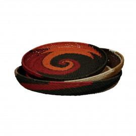 FIRE - set/3 baskets - paper - DIA 41/45/48 x H 4/5/6 cm - multicolor