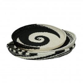 HOLI - set/3 baskets - paper - DIA 41/45/48 x H 4/5/6 cm - black/white