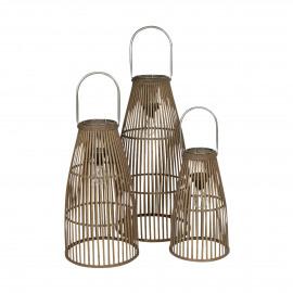 SANTON - set/3 lantaarns - bamboe - DIA 24/30/34 x H 42/55/70 cm ( led 2x1,5 volt )