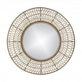 VAMOR - miroir - bambou / verre miroir - DIA 99 x H 9 cm