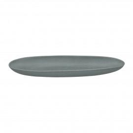 GALET - ovale schaal - stoneware - L 38 x W 13 x H 4 cm - Grijs blauw