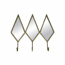DIAMANT - wall hook - 3 hangers - metal / mirror glass - L 43 x W 36 x H 8 cm - gold