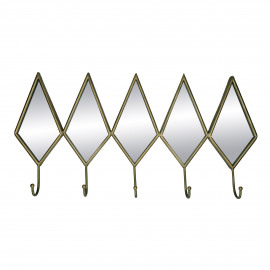 DIAMANT - wall hook - 5 hangers - metal / mirror glass - L 71 x W 36 x H 8 cm - gold