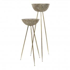 FILOU - set/2 potten op staander - metaal - DIA 42,5/46 x H 104/139 cm - Goud