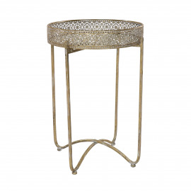 FILOU - side table - metal / mirror glass - DIA 40 x H 61 cm - gold