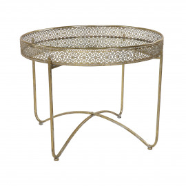 FILOU - side table - metal / mirror glass - DIA 68 x H 51 cm - gold