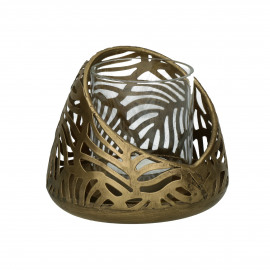 LIEF - candle holder - metal - DIA 11 x H 9,5 cm - gold