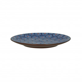 LILI-ROSE - dessert bord - hexagon patroon - porselein - DIA 22 cm - Blauw