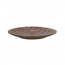 LILI-ROSE - dessert bord - hexagon patroon - porselein - DIA 22 cm - Rood