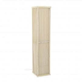 LINEA - staanlamp - paulownia hout / linnen - L 25,5 x W 25,5 x H 120,5 cm - wit