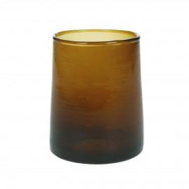 MIRA - water glass - glass - L 6,3 x W 6,3 x H 9 cm - amber