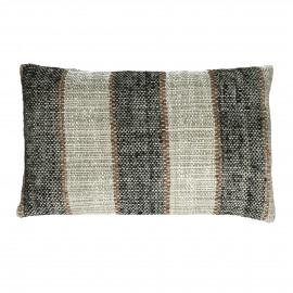 SHIKHA - cushion - stripes - linen / viscose - L 30 x W 50 cm - black