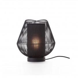 PALINE - lampe de table - métal / MDF - DIA 26 x H 28 cm - noir