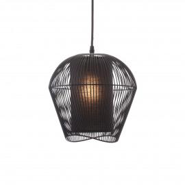 PALINE - suspension - métal / MDF - DIA 26 x H 25 cm - Noir