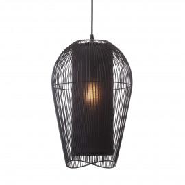 PALINE - hanging lamp - metal / MDF - DIA 29 x H 47 cm - black