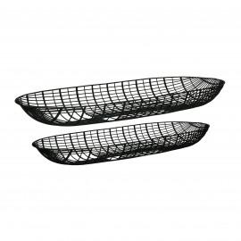 PATRONA - set/2 trays - iron - L 50/57 x W 17/20 x H 5/5 cm - black