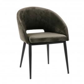 SYRAH - chaise - velours / métal - L 59,5 x W 55 x H 79 cm - anthracite