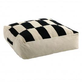 ZITA - floor cushion - cotton - L 70 x W 70 x H 20 cm - black/white