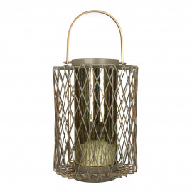 LYKT - lantern - metal / glass - DIA 28 x H 43 cm - taupe