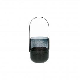 VIDRO - lantern - glass / metal - DIA 9 x H 19 cm - dark blue