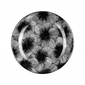 HUANG - dessert plate - porcelain - DIA 22 cm - black/white