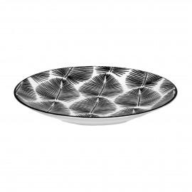 PALME - dessert plate - porcelain - DIA 22 cm - black/white