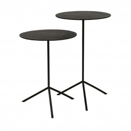 JIVE - set/2 side tables - aluminium / stainless steel - DIA 36 x H 47/57 cm - gun