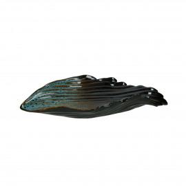 SCALLOP - bowl - earthenware - L 26 x W 16 x H 5 cm - aqua