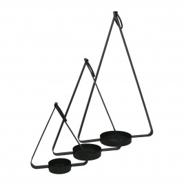 HOLD ME - set/3 candle holders - metal - L 17/22/28 x W 7/9/11 x H 20/31/44 cm - black