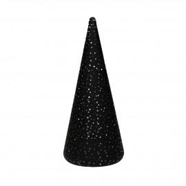 NORI - x-mas tree w/led - battery - glass - DIA 9,5 x H 22 cm - black
