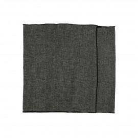 CHAMBRAY - set/2 tafellopers - linnen / katoen - L 150 x H 40 cm - zwart