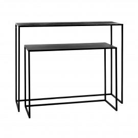ESZENTIAL - set/2 consoles - métal - L 80/100 x W 30/30 x H 60/80 cm - noir